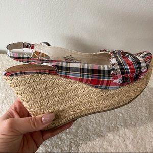 MOSSIMO 9.5 NWT Wolina Plaid Peep Toe Wedge Shoes